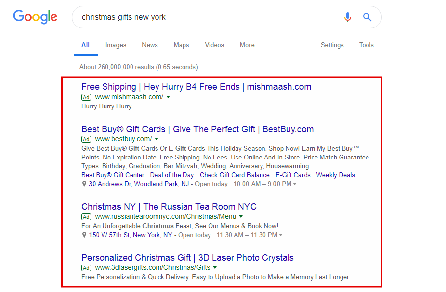 ppc campaign for christmas
