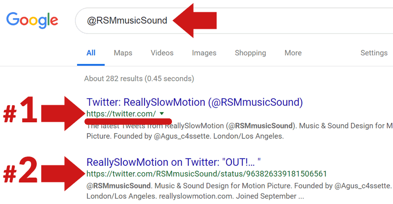 Screenshot of a Google's search results