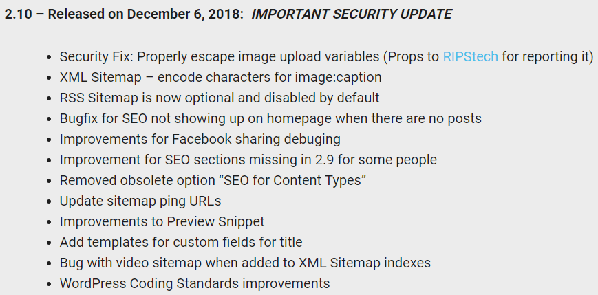 Screenshot of the newly altered changelog by All in One SEO Pack