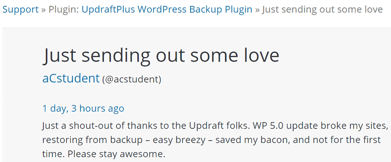 Screenshot of a testimonial about UpdraftPlus backup Plugin for WordPress