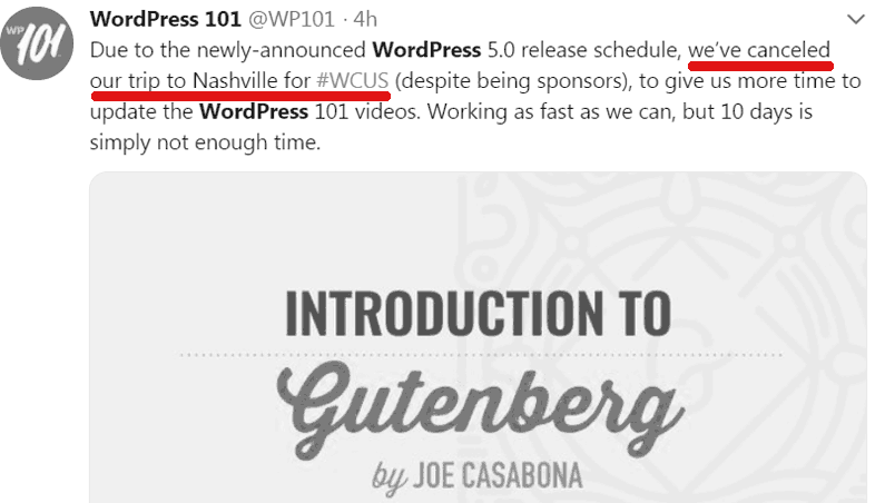 Screenshot of a tweet by a wordcamp sponsor