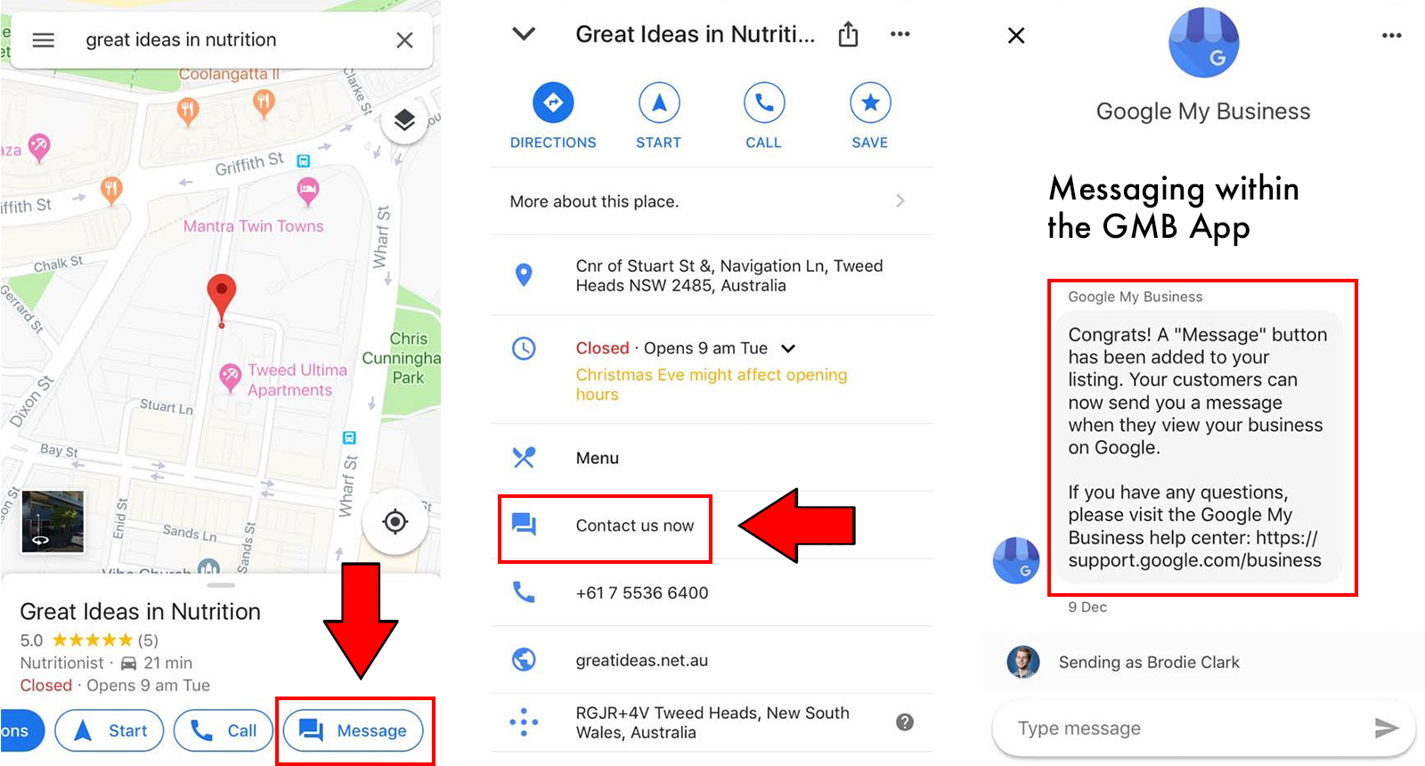 Google My Business Messaging Feature Examples