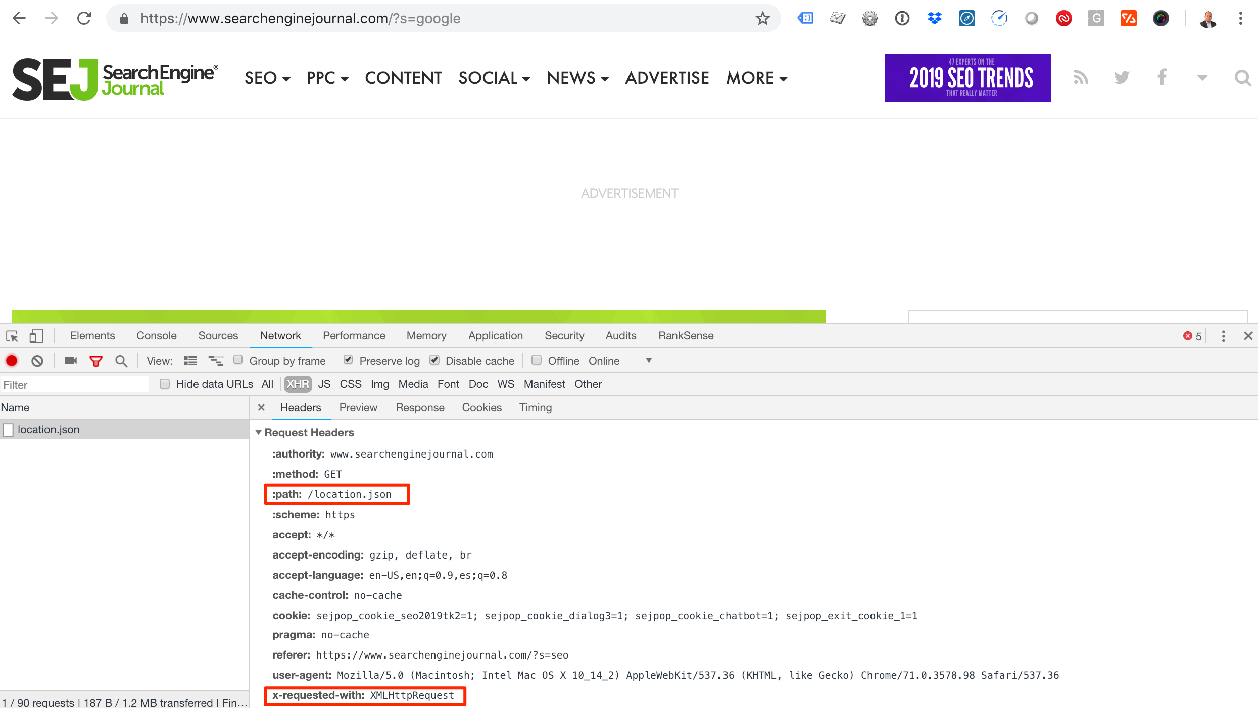 Screenshot showing how to check the request headers of a JSON file using Chrome Developer tools. The path of the json file is highlighted, as is the x-requested-with header.