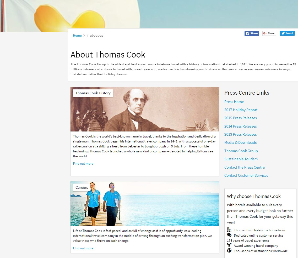 Thomas Cook About Us page