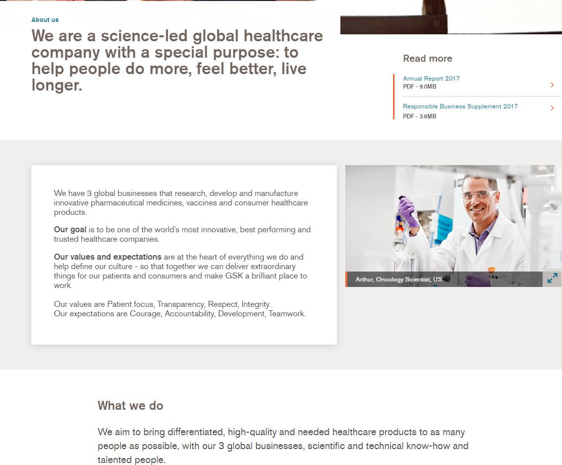 GSK About Us page