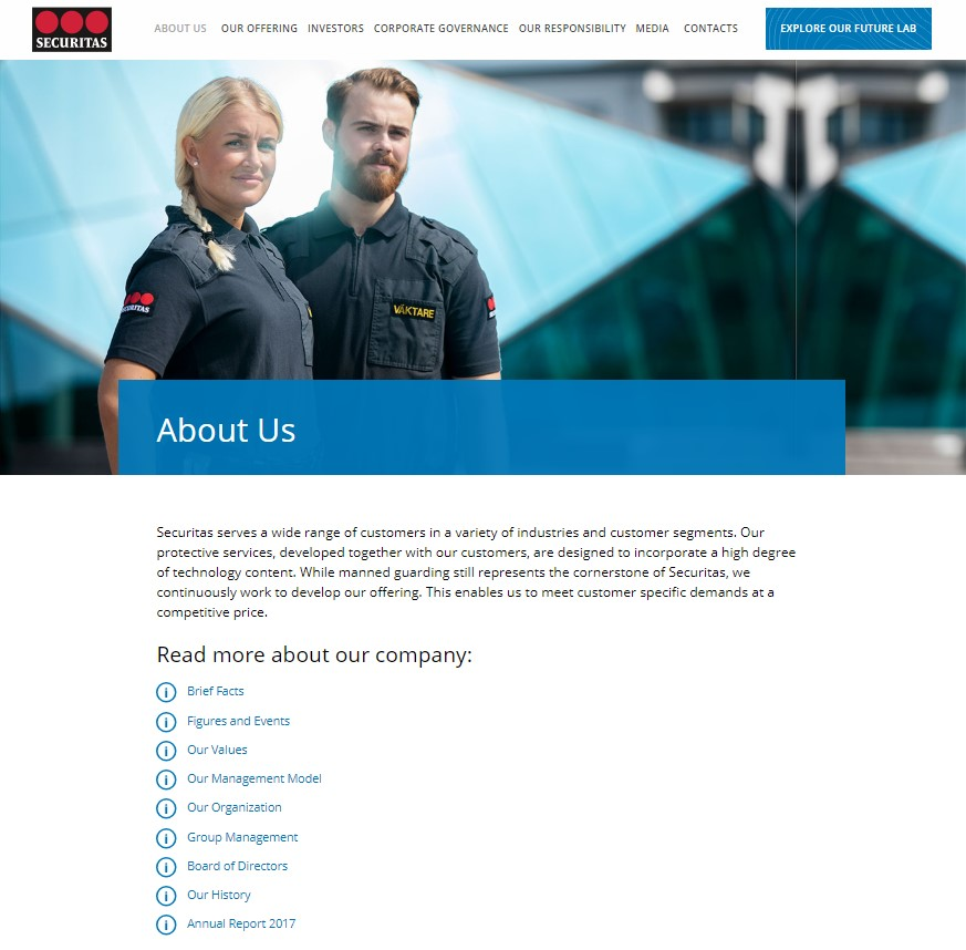 securitas About Us page