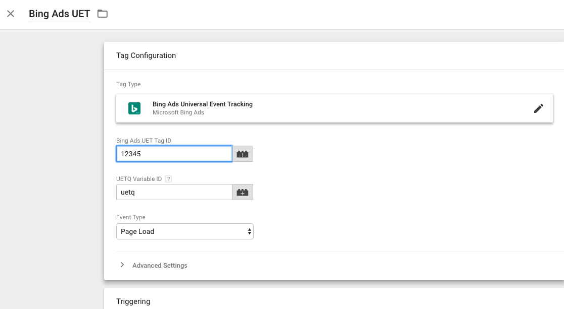 Bing Ads UET Setup in Google Tag Manager