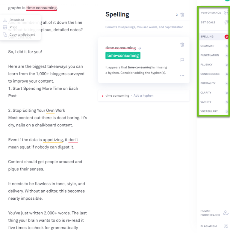 using grammarly to edit content marketing pieces