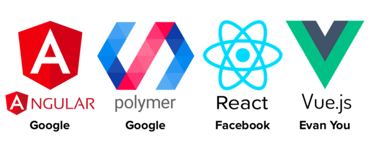 Angular, Polymer, React and Vue JavaScript framework logos