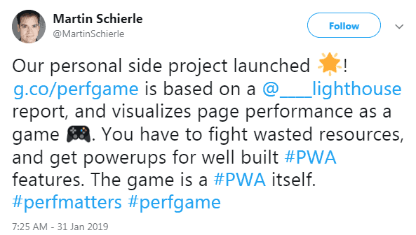 Screenshot of a tweet by a Googler announcing the release of The Performance Game