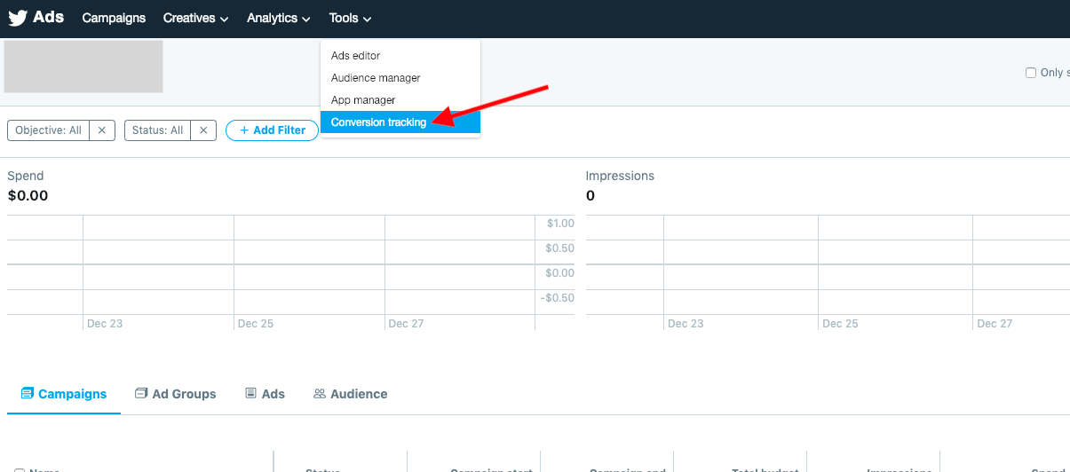 Access Conversion Tracking in Twitter Ads