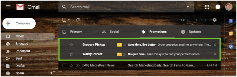 Gmail Sponsored Promotions 1