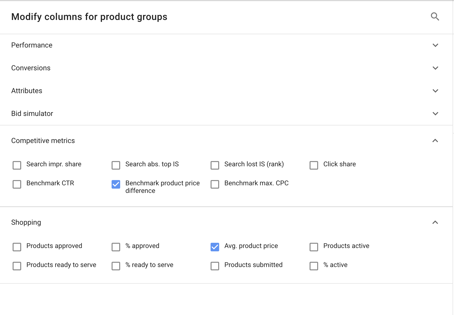 Modify columns for product groups