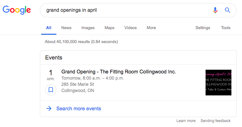 Eventos Rich Snippets