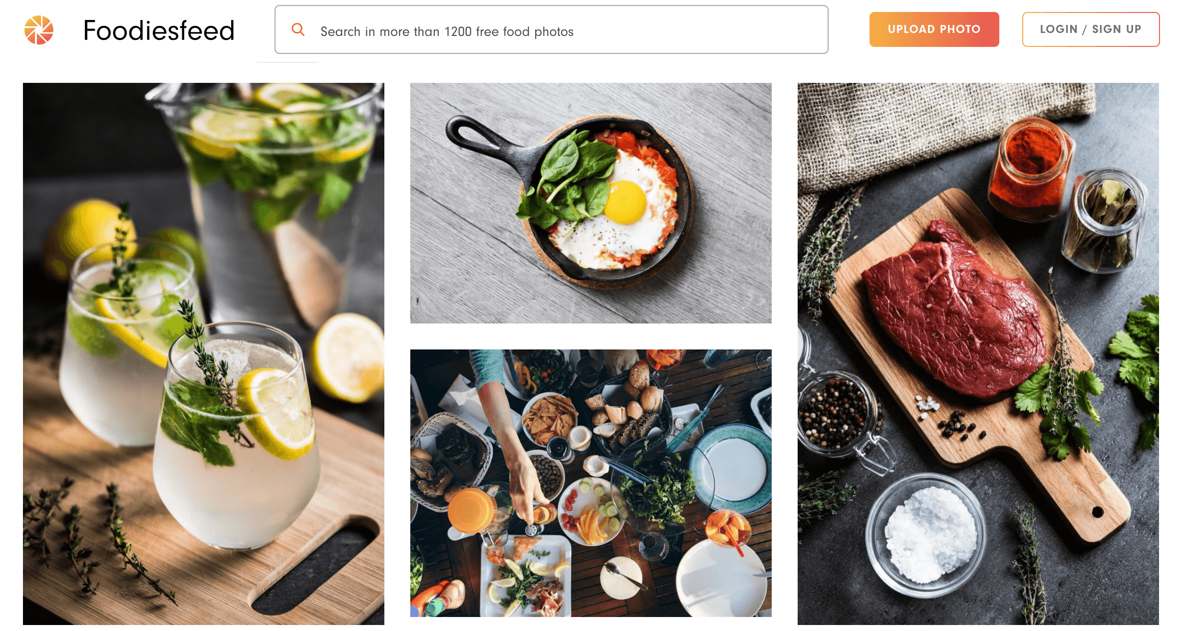 Foodies feed home page