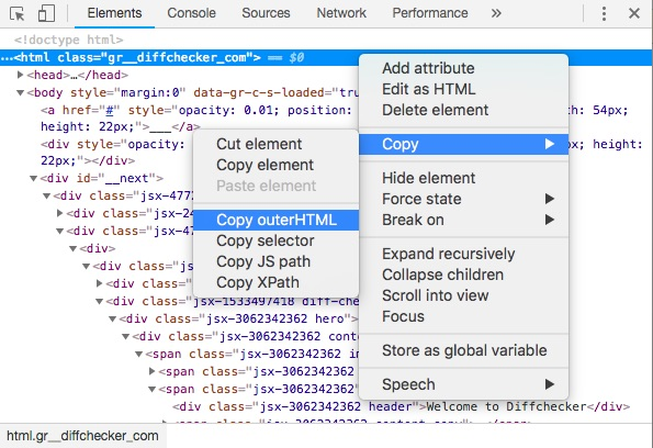 Copy outerHTML screenshot