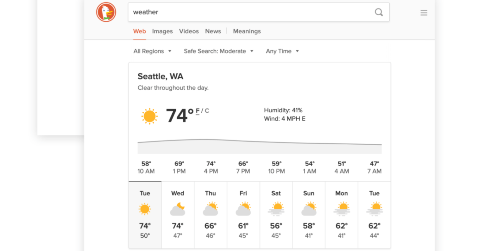 DuckDuckGo Upgrades Search Results for Weather Forecasts