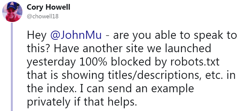 Screenshot of a tweet by a person who says Google indexed a web page that was blocked by Robots.txt