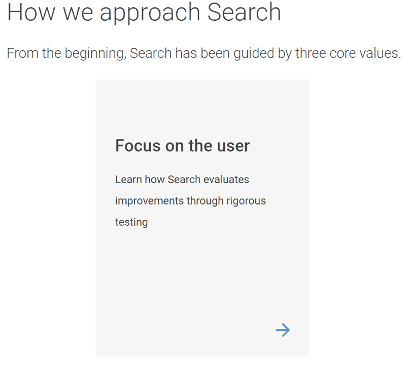 A screenshot from Google's How Search Works page, showing that the leading core value is Focus on the User.