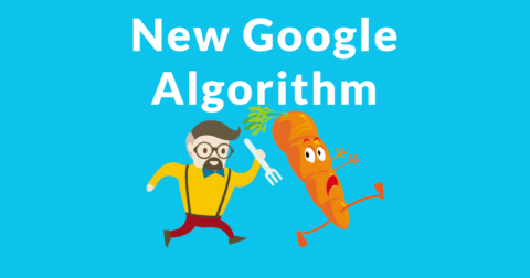 """Image of a man chasing a carrot. The carrot is a symbol of a reward. The words """"New Google Algorithm"""" are written above the image."""