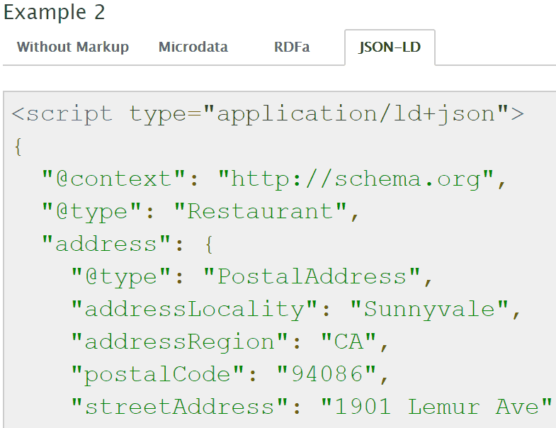 Screenshot of json-ld structured data from schema.org