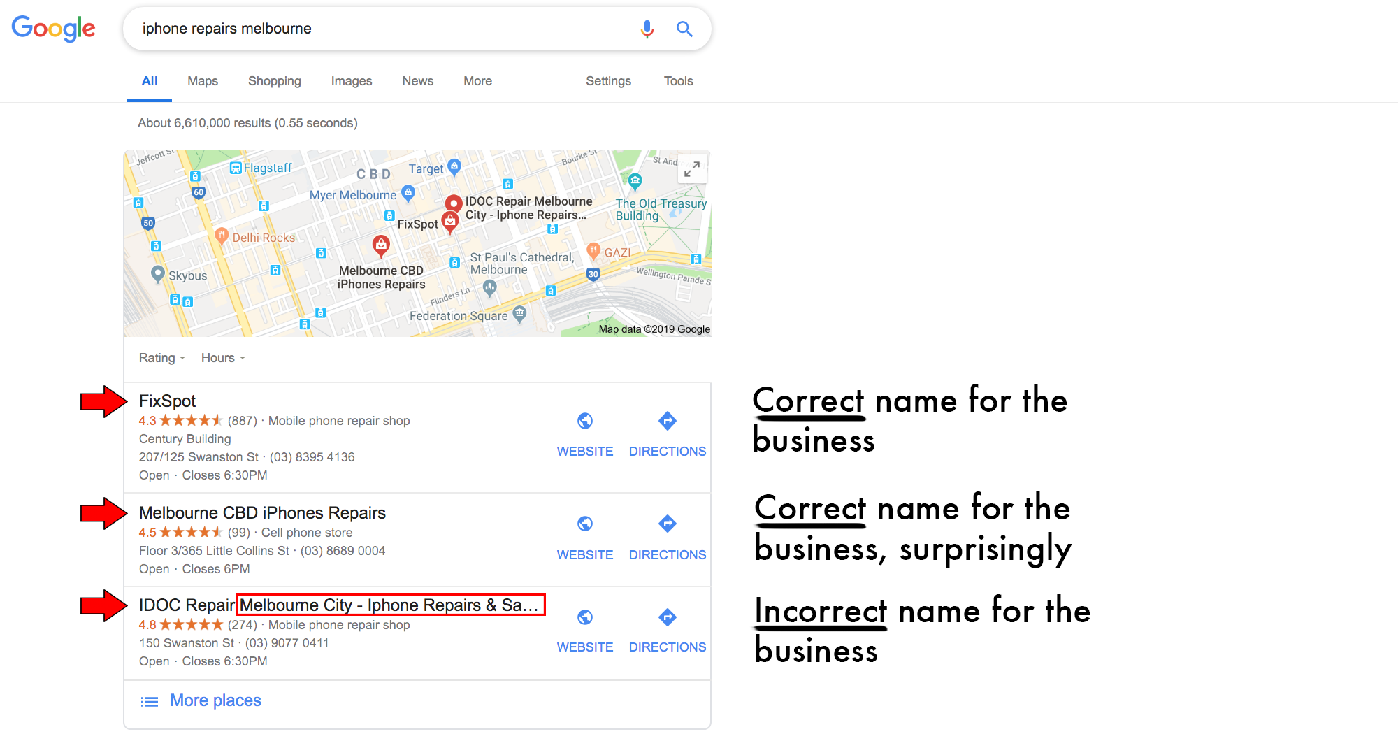 Google My Business name keyword stuffing spam