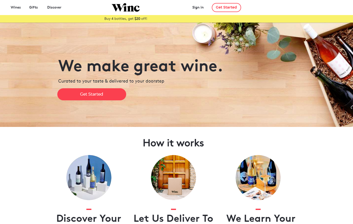 Winc home page