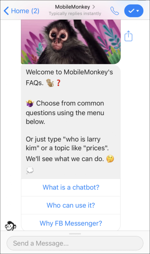 chatbot answering FAQs