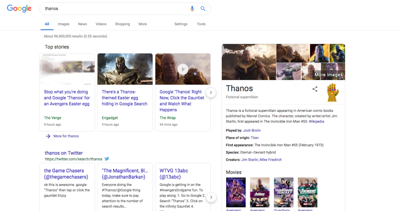 Google Thanos Easter Egg Wipes Out Half of All Search Engine Results