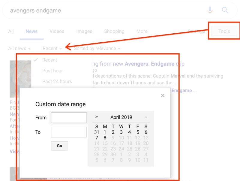 Screenshot of a tweet showing a screenshot of the Google Date Search Tool