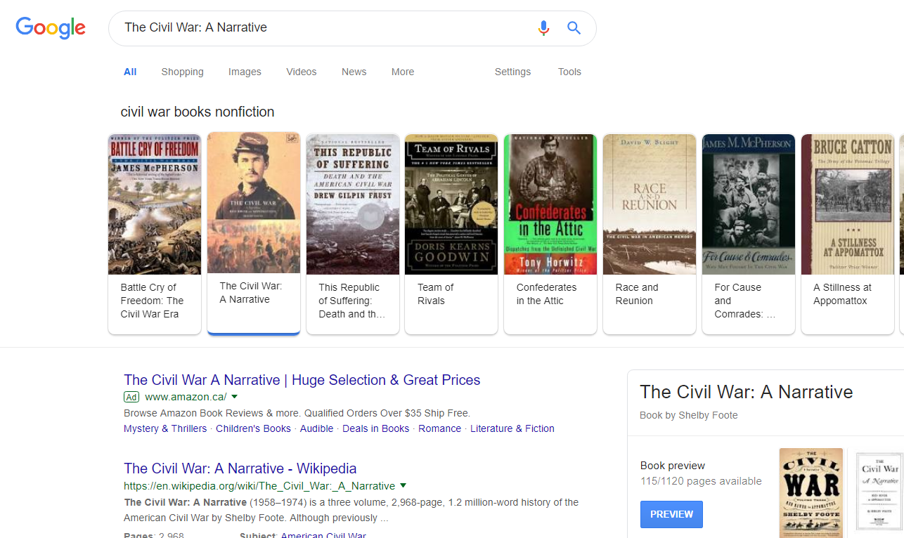 Civil War Book SERP