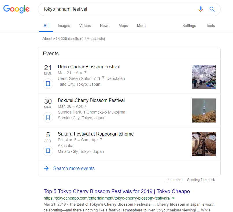 Event SERP Layout