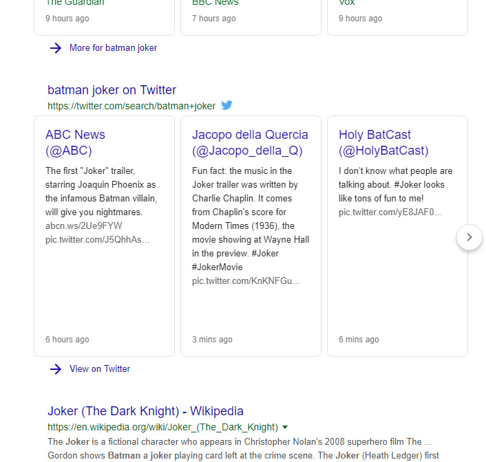 Twitter Feed SERP Layout