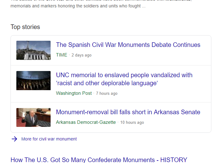 News SERP layout