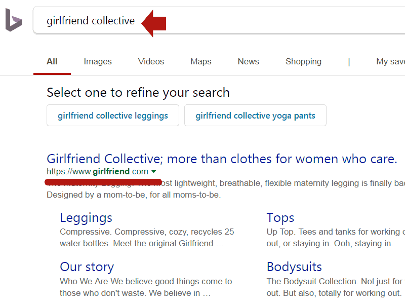 Screen capture of Bing's search results showing that she classifies Girlfriend.com in a normal way