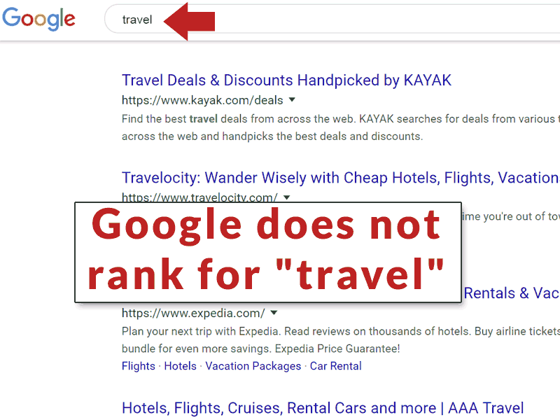 Screenshot of the search results page for Travel.