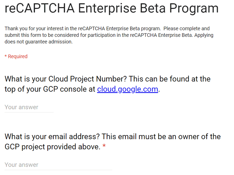 Screenshot of reCAPTCHA Enterprise sign up form