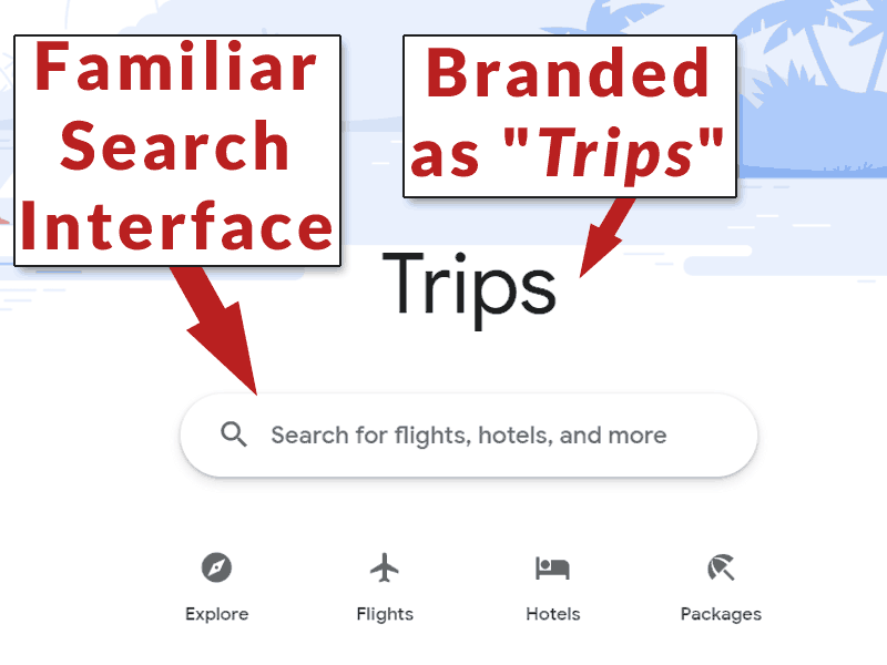 Screenshot of Google Trips when not signed into Google