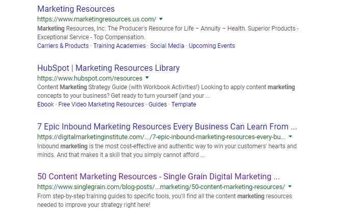 Marketing Resources SERPs
