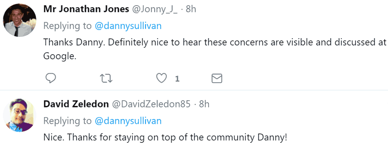 Screenshot of tweets with positive response to Danny Sullivan