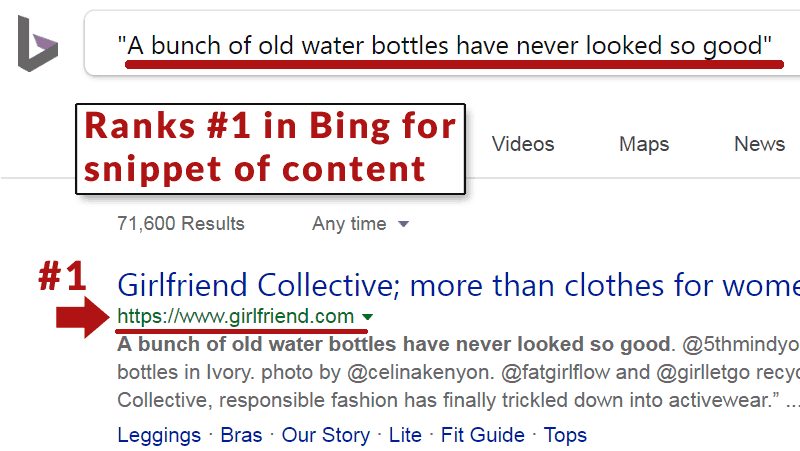 Screenshot of a Bing search result that is ranking Girlfriend.com number one