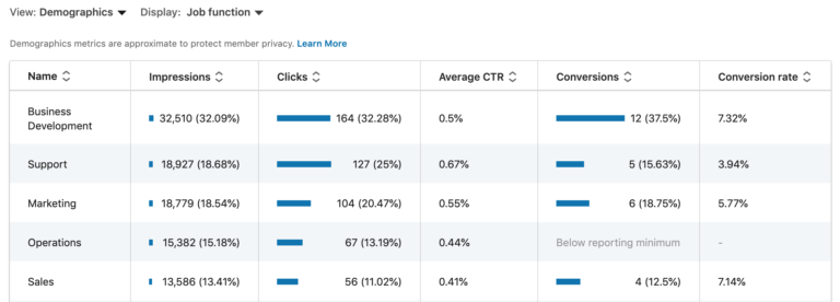 LinkedIn Ads Campaign Demographic Data