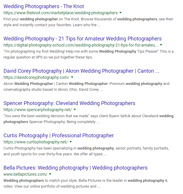 Wedding photographer screenshot