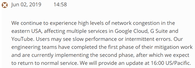 Screenshot of an official Google cloud announcement of an outage