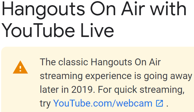 Google Hangouts on Air With YouTube Live Discontinued