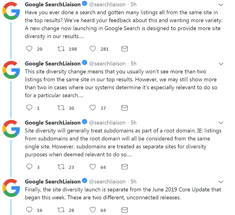 Screenshot of Google's official tweet announcing site diversity change