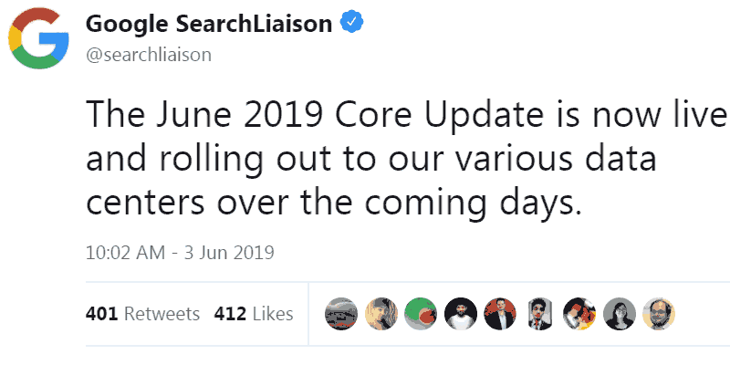 Screenshot of Google's tweet announcing the June Core Algorithm Update was live