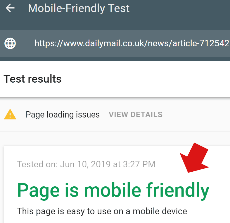 Screenshot of Google's Mobile Friendly Testing Tool