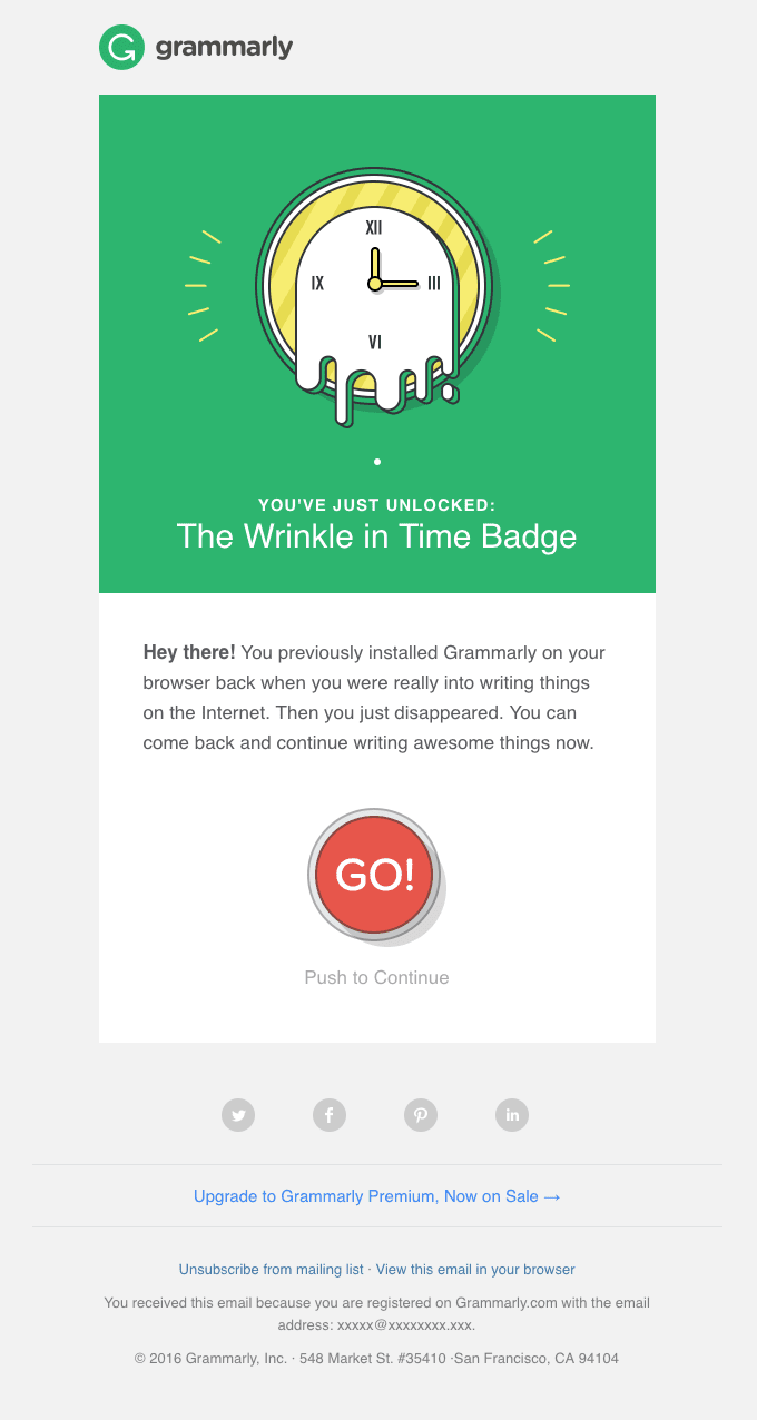 Grammarly re-engagement email