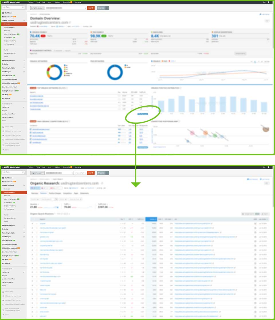 SEMrush screen shots